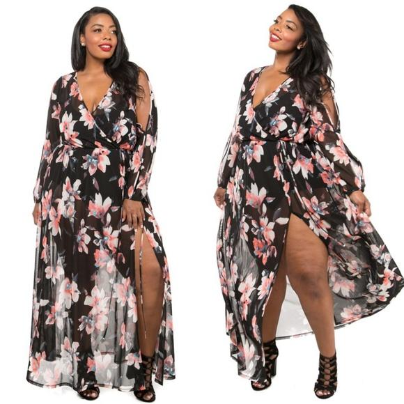 cb341bd5 Dresses | New Floral Printed Mesh Wrap Dress Black 123x | Poshmark